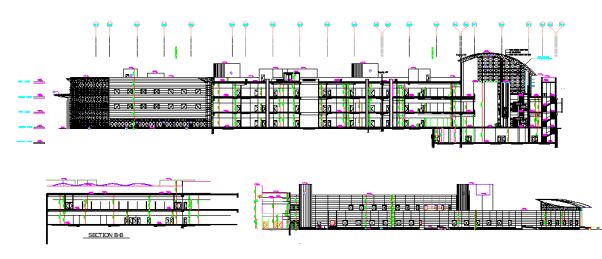 AutoCAD DWG Drawing shows the front and Rear side elevation of the government Museum.
